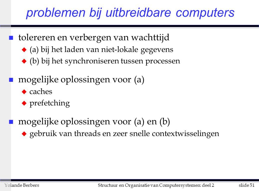 slide 51Structuur en Organisatie van Computersystemen: deel 2Yolande Berbers problemen bij uitbreidbare computers n tolereren en verbergen van wachttijd u (a) bij het laden van niet-lokale gegevens u (b) bij het synchroniseren tussen processen n mogelijke oplossingen voor (a) u caches u prefetching n mogelijke oplossingen voor (a) en (b) u gebruik van threads en zeer snelle contextwisselingen