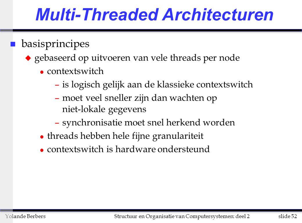 slide 52Structuur en Organisatie van Computersystemen: deel 2Yolande Berbers Multi-Threaded Architecturen n basisprincipes u gebaseerd op uitvoeren van vele threads per node l contextswitch –is logisch gelijk aan de klassieke contextswitch –moet veel sneller zijn dan wachten op niet-lokale gegevens –synchronisatie moet snel herkend worden l threads hebben hele fijne granulariteit l contextswitch is hardware ondersteund