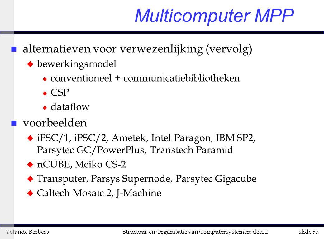 slide 57Structuur en Organisatie van Computersystemen: deel 2Yolande Berbers Multicomputer MPP n alternatieven voor verwezenlijking (vervolg) u bewerkingsmodel l conventioneel + communicatiebibliotheken l CSP l dataflow n voorbeelden u iPSC/1, iPSC/2, Ametek, Intel Paragon, IBM SP2, Parsytec GC/PowerPlus, Transtech Paramid u nCUBE, Meiko CS-2 u Transputer, Parsys Supernode, Parsytec Gigacube u Caltech Mosaic 2, J-Machine