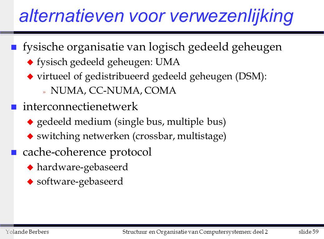 slide 59Structuur en Organisatie van Computersystemen: deel 2Yolande Berbers alternatieven voor verwezenlijking n fysische organisatie van logisch gedeeld geheugen u fysisch gedeeld geheugen: UMA u virtueel of gedistribueerd gedeeld geheugen (DSM): » NUMA, CC-NUMA, COMA n interconnectienetwerk u gedeeld medium (single bus, multiple bus) u switching netwerken (crossbar, multistage) n cache-coherence protocol u hardware-gebaseerd u software-gebaseerd