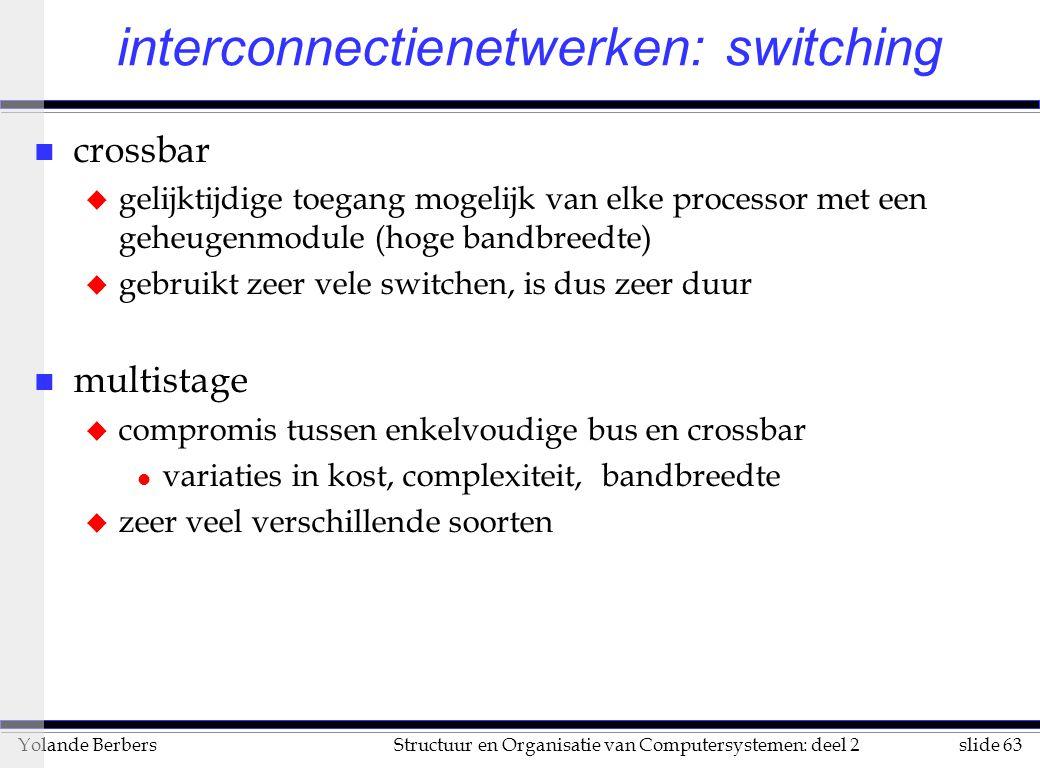 slide 63Structuur en Organisatie van Computersystemen: deel 2Yolande Berbers interconnectienetwerken: switching n crossbar u gelijktijdige toegang mogelijk van elke processor met een geheugenmodule (hoge bandbreedte) u gebruikt zeer vele switchen, is dus zeer duur n multistage u compromis tussen enkelvoudige bus en crossbar l variaties in kost, complexiteit, bandbreedte u zeer veel verschillende soorten