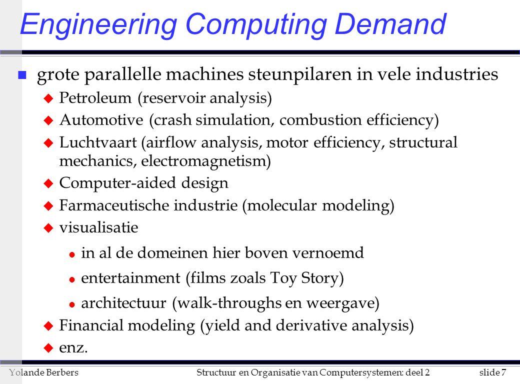 slide 7Structuur en Organisatie van Computersystemen: deel 2Yolande Berbers Engineering Computing Demand n grote parallelle machines steunpilaren in v