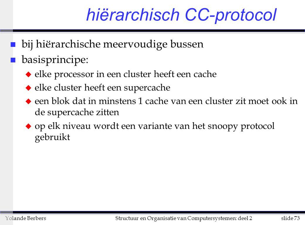 slide 73Structuur en Organisatie van Computersystemen: deel 2Yolande Berbers hiërarchisch CC-protocol n bij hiërarchische meervoudige bussen n basisprincipe: u elke processor in een cluster heeft een cache u elke cluster heeft een supercache u een blok dat in minstens 1 cache van een cluster zit moet ook in de supercache zitten u op elk niveau wordt een variante van het snoopy protocol gebruikt
