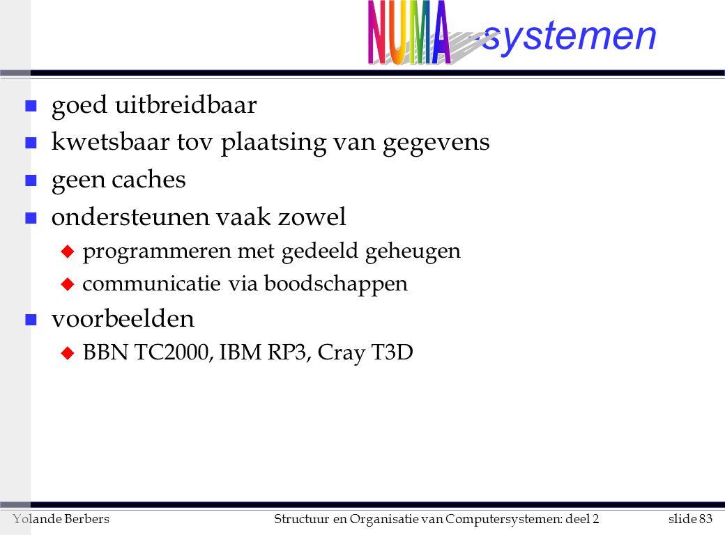 slide 83Structuur en Organisatie van Computersystemen: deel 2Yolande Berbers -systemen n goed uitbreidbaar n kwetsbaar tov plaatsing van gegevens n geen caches n ondersteunen vaak zowel u programmeren met gedeeld geheugen u communicatie via boodschappen n voorbeelden u BBN TC2000, IBM RP3, Cray T3D