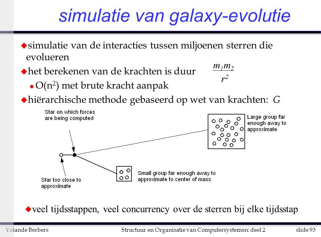 slide 93Structuur en Organisatie van Computersystemen: deel 2Yolande Berbers simulatie van galaxy-evolutie u simulatie van de interacties tussen miljoenen sterren die evolueren u het berekenen van de krachten is duur l O(n 2 ) met brute kracht aanpak u hiërarchische methode gebaseerd op wet van krachten: G m1m2m1m2 r2r2 u veel tijdsstappen, veel concurrency over de sterren bij elke tijdsstap