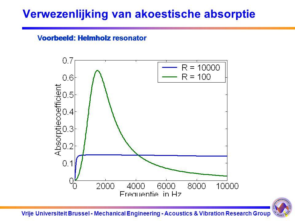 Vrije Universiteit Brussel - Mechanical Engineering - Acoustics & Vibration Research Group Helmholz resonator : Frequentie hoger Meer demping Verwezen