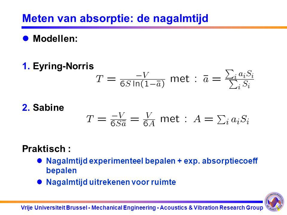 Vrije Universiteit Brussel - Mechanical Engineering - Acoustics & Vibration Research Group Meten van absorptie: de nagalmtijd Definitie : Berekening :