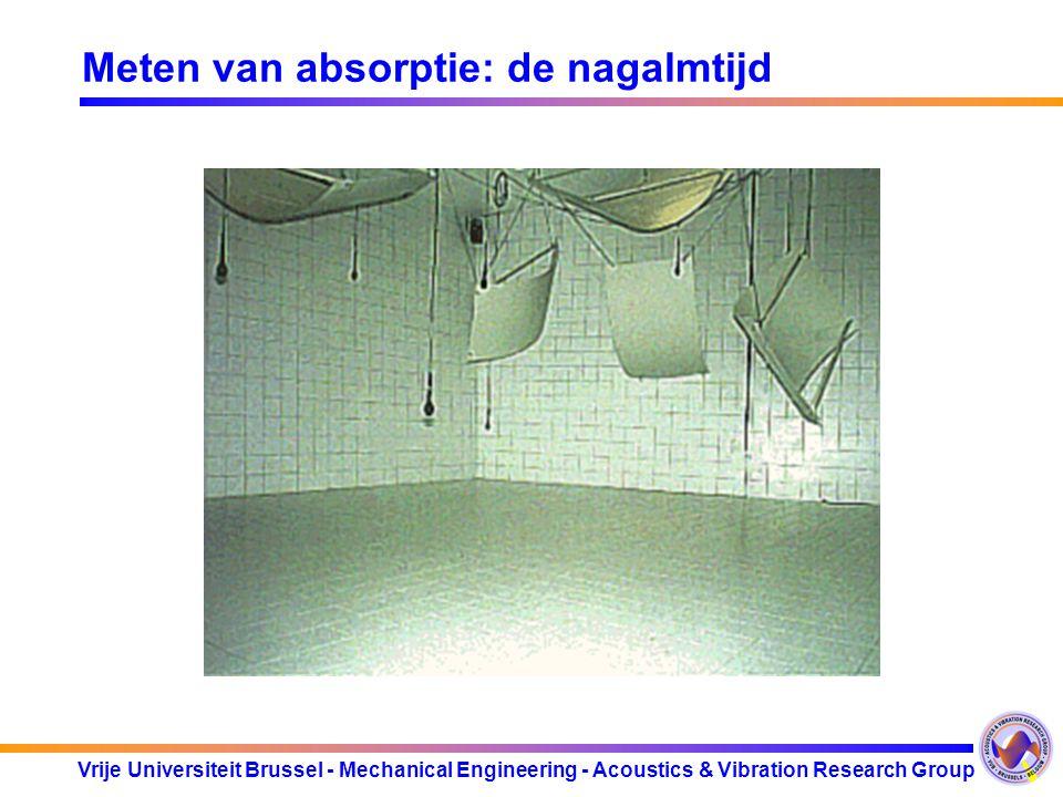 Vrije Universiteit Brussel - Mechanical Engineering - Acoustics & Vibration Research Group Meten van absorptie: de nagalmtijd 1.In galmkamer : 2.In si