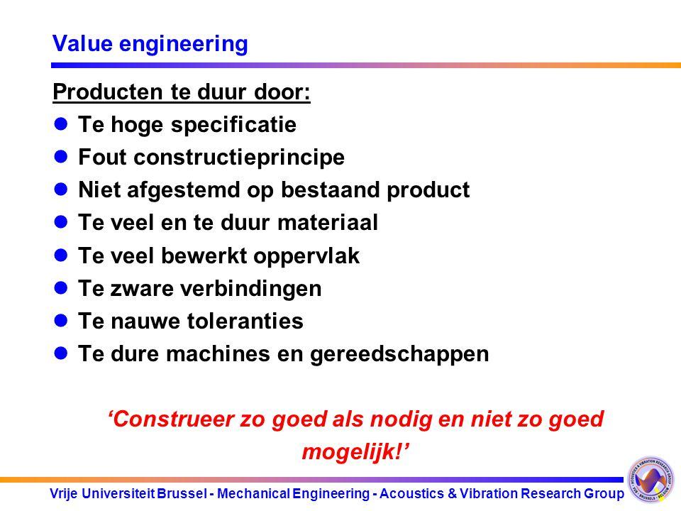 Vrije Universiteit Brussel - Mechanical Engineering - Acoustics & Vibration Research Group Value engineering Producten te duur door: Te hoge specifica