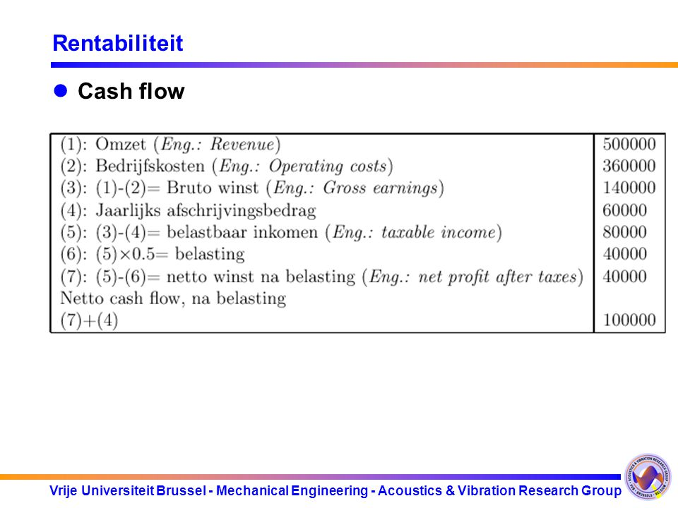 Vrije Universiteit Brussel - Mechanical Engineering - Acoustics & Vibration Research Group Rentabiliteit Cash flow