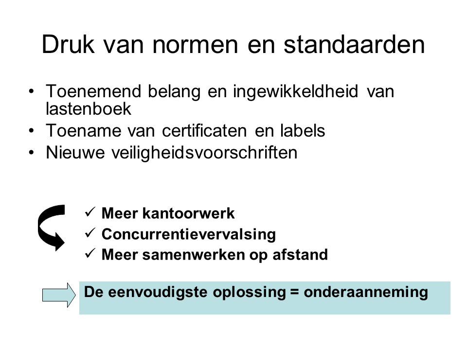 Druk van normen en standaarden Toenemend belang en ingewikkeldheid van lastenboek Toename van certificaten en labels Nieuwe veiligheidsvoorschriften M