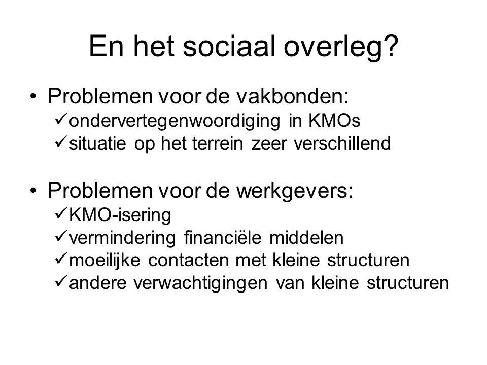 En het sociaal overleg? Problemen voor de vakbonden: ondervertegenwoordiging in KMOs situatie op het terrein zeer verschillend Problemen voor de werkg