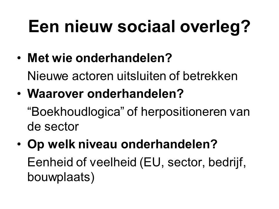 """Een nieuw sociaal overleg? Met wie onderhandelen? Nieuwe actoren uitsluiten of betrekken Waarover onderhandelen? """"Boekhoudlogica"""" of herpositioneren v"""