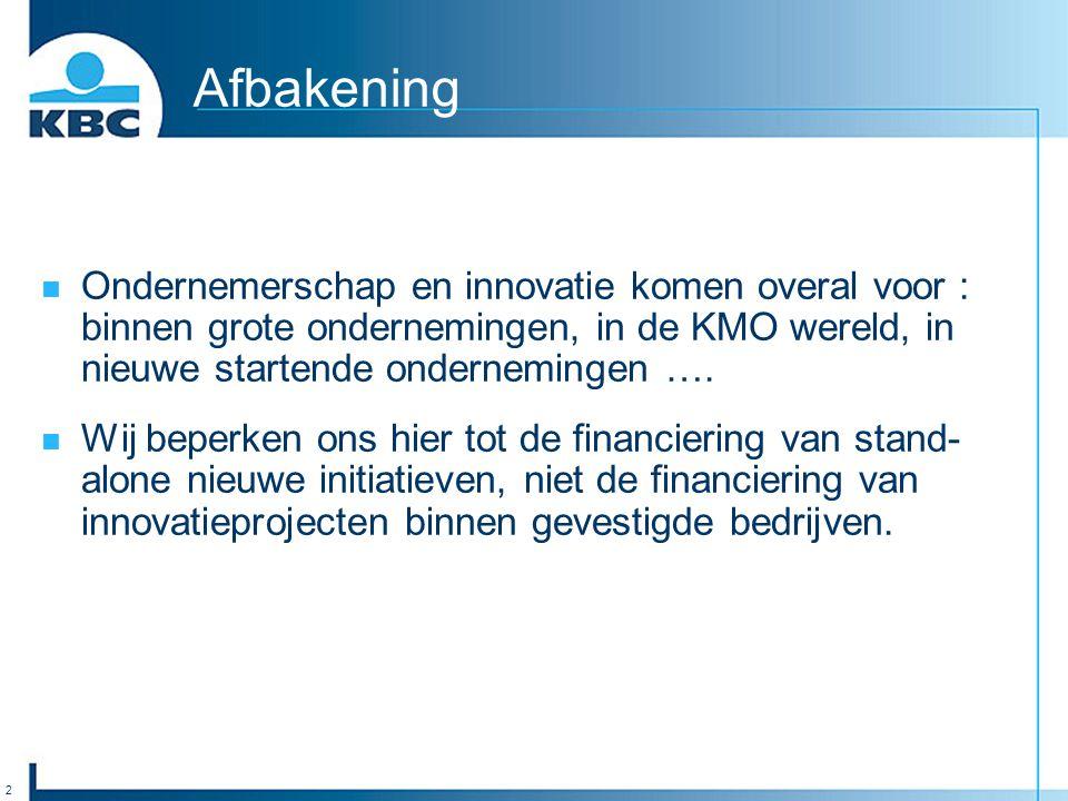 3 De Rol van de Overheid Verschillende (te vele?) bronnen van financiering, subsidie, garantieschema's te vinden in Overheidsprogramma's; Op Vlaams, Federaal en Europees niveau; Industrieel Onderzoeksfonds (IOF), Vlaams Innovatiefonds (VINOFF), Instituut voor Innovatie door Wetenschap (IWT), Arkimedes (zie verder).