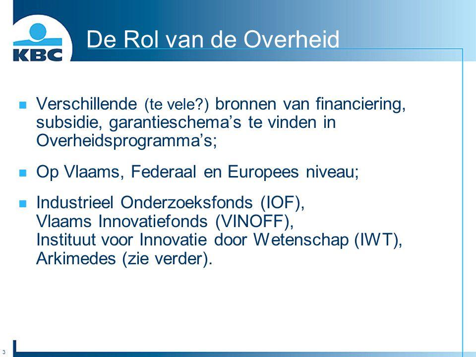 3 De Rol van de Overheid Verschillende (te vele ) bronnen van financiering, subsidie, garantieschema's te vinden in Overheidsprogramma's; Op Vlaams, Federaal en Europees niveau; Industrieel Onderzoeksfonds (IOF), Vlaams Innovatiefonds (VINOFF), Instituut voor Innovatie door Wetenschap (IWT), Arkimedes (zie verder).