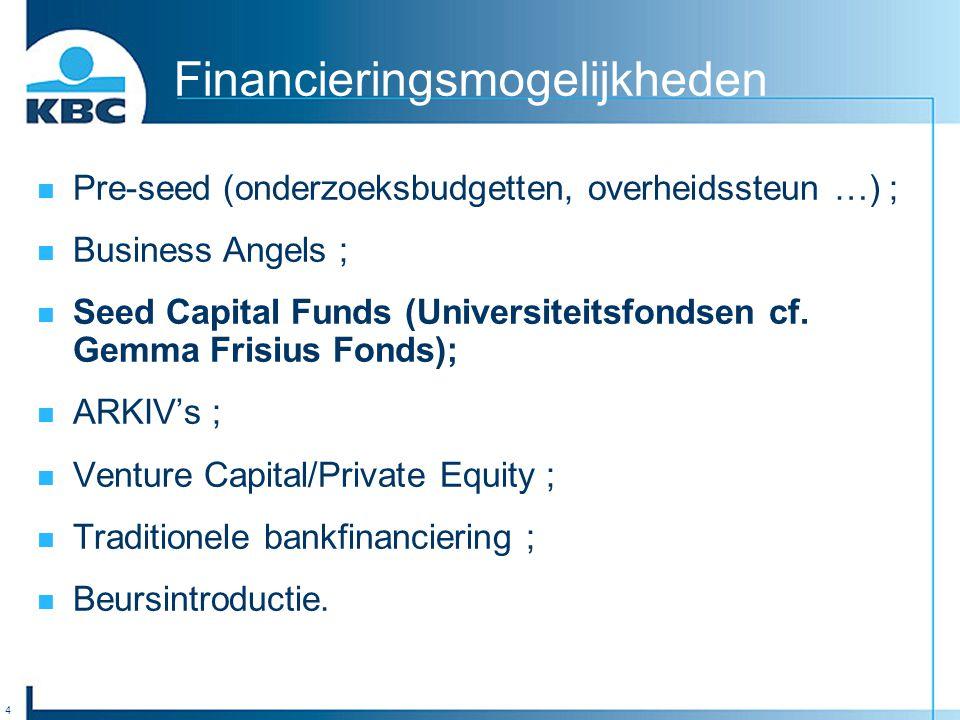 4 Financieringsmogelijkheden Pre-seed (onderzoeksbudgetten, overheidssteun …) ; Business Angels ; Seed Capital Funds (Universiteitsfondsen cf.