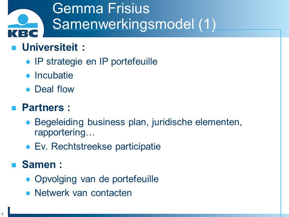 10 Gemma Frisius Samenwerkingsmodel (2) Fonds : Financiële bijdrage van alle partners  GFF I : 12,5 mio Euro (oktober 1997)  GFF II : 8,5-12,5 mio Euro (juni 2002) Adviescomité :  Evaluatie van de ideeën;  Verfijnen van business plannen;  Juridische en andere elementen.
