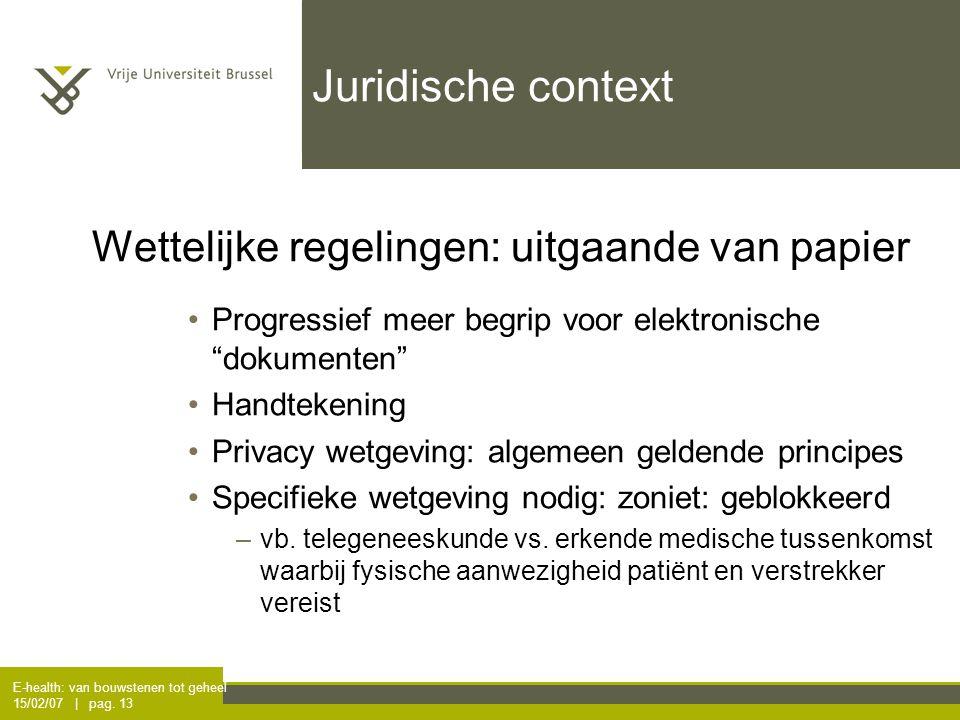 E-health: van bouwstenen tot geheel 15/02/07 | pag. 13 Juridische context Wettelijke regelingen: uitgaande van papier Progressief meer begrip voor ele
