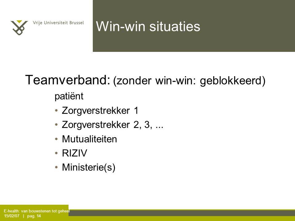 E-health: van bouwstenen tot geheel 15/02/07 | pag. 14 Win-win situaties Teamverband: (zonder win-win: geblokkeerd) patiënt Zorgverstrekker 1 Zorgver