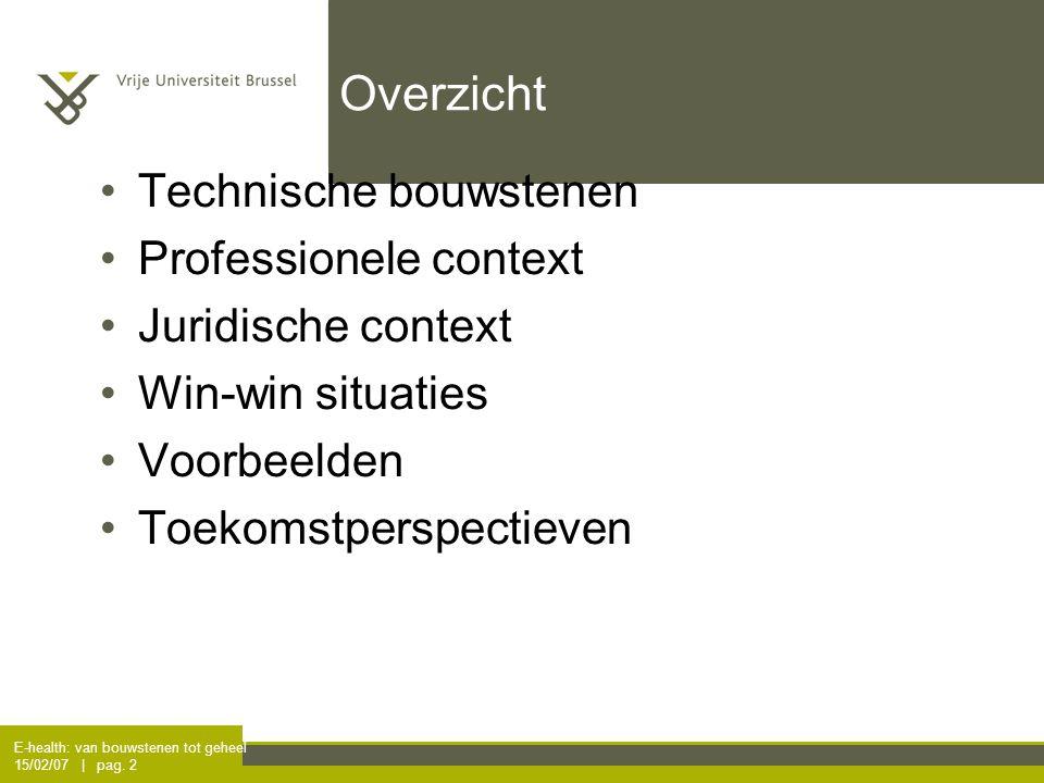 E-health: van bouwstenen tot geheel 15/02/07 | pag. 2 Overzicht Technische bouwstenen Professionele context Juridische context Win-win situaties Voorb