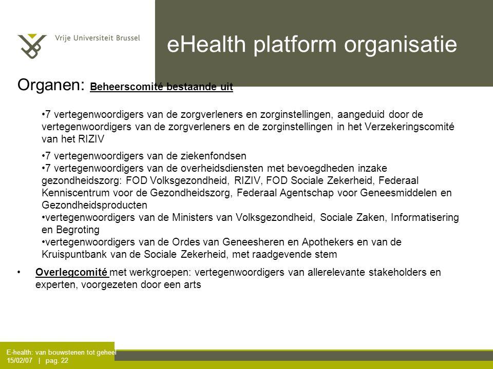 E-health: van bouwstenen tot geheel 15/02/07 | pag. 22 eHealth platform organisatie Organen: Beheerscomité bestaande uit 7 vertegenwoordigers van de z