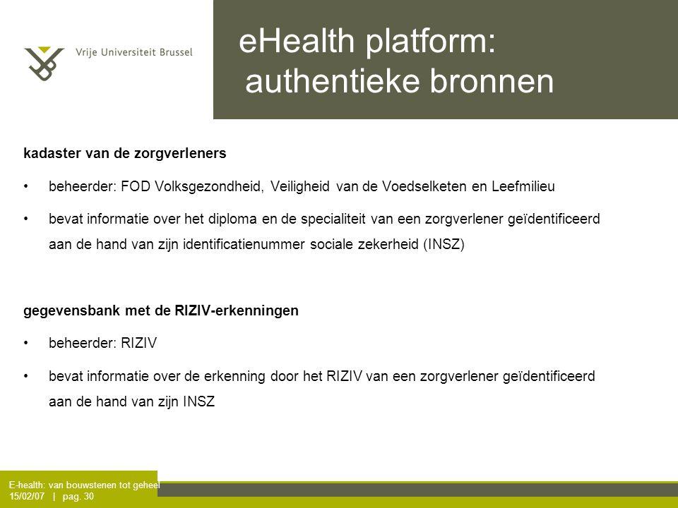 E-health: van bouwstenen tot geheel 15/02/07 | pag. 30 eHealth platform: authentieke bronnen kadaster van de zorgverleners beheerder: FOD Volksgezondh