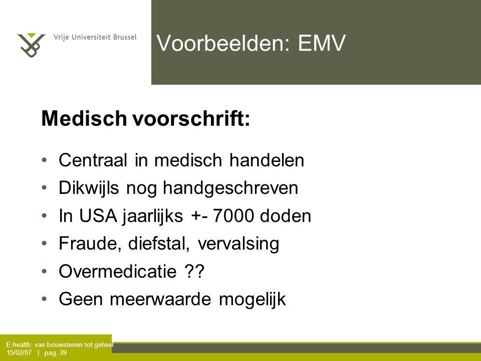 E-health: van bouwstenen tot geheel 15/02/07 | pag. 39 Voorbeelden: EMV Medisch voorschrift: Centraal in medisch handelen Dikwijls nog handgeschreven