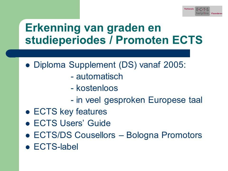 Erkenning van graden en studieperiodes / Promoten ECTS Diploma Supplement (DS) vanaf 2005: - automatisch - kostenloos - in veel gesproken Europese taal ECTS key features ECTS Users' Guide ECTS/DS Cousellors – Bologna Promotors ECTS-label