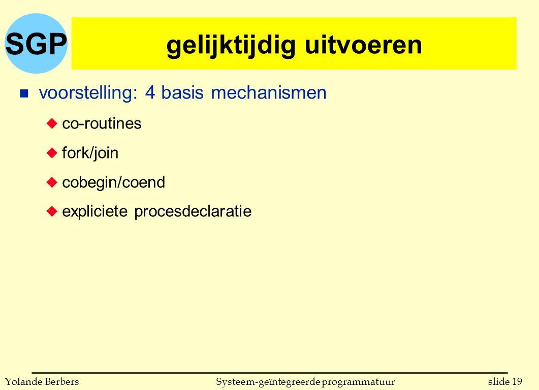 SGP slide 19Systeem-geïntegreerde programmatuurYolande Berbers gelijktijdig uitvoeren n voorstelling: 4 basis mechanismen u co-routines u fork/join u cobegin/coend u expliciete procesdeclaratie