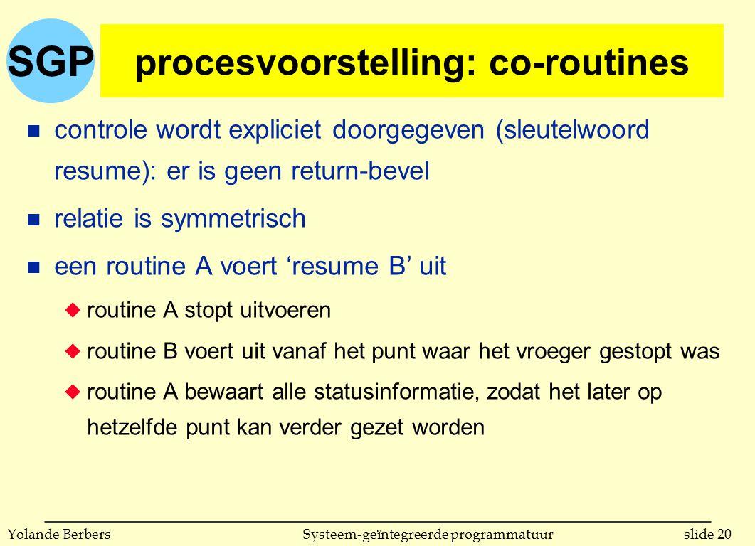 SGP slide 20Systeem-geïntegreerde programmatuurYolande Berbers procesvoorstelling: co-routines n controle wordt expliciet doorgegeven (sleutelwoord resume): er is geen return-bevel n relatie is symmetrisch n een routine A voert 'resume B' uit u routine A stopt uitvoeren u routine B voert uit vanaf het punt waar het vroeger gestopt was u routine A bewaart alle statusinformatie, zodat het later op hetzelfde punt kan verder gezet worden