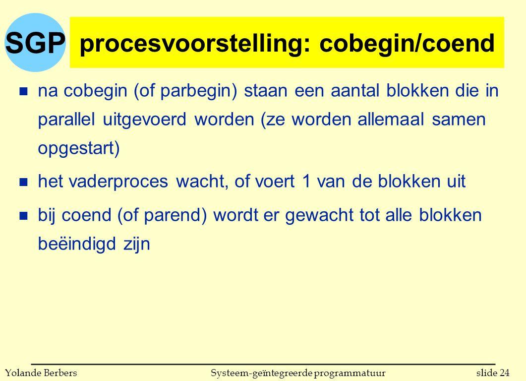 SGP slide 24Systeem-geïntegreerde programmatuurYolande Berbers procesvoorstelling: cobegin/coend n na cobegin (of parbegin) staan een aantal blokken die in parallel uitgevoerd worden (ze worden allemaal samen opgestart) n het vaderproces wacht, of voert 1 van de blokken uit n bij coend (of parend) wordt er gewacht tot alle blokken beëindigd zijn