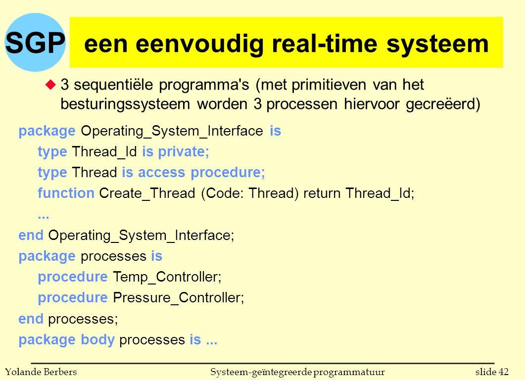 SGP slide 42Systeem-geïntegreerde programmatuurYolande Berbers een eenvoudig real-time systeem u 3 sequentiële programma s (met primitieven van het besturingssysteem worden 3 processen hiervoor gecreëerd) package Operating_System_Interface is type Thread_Id is private; type Thread is access procedure; function Create_Thread (Code: Thread) return Thread_Id;...