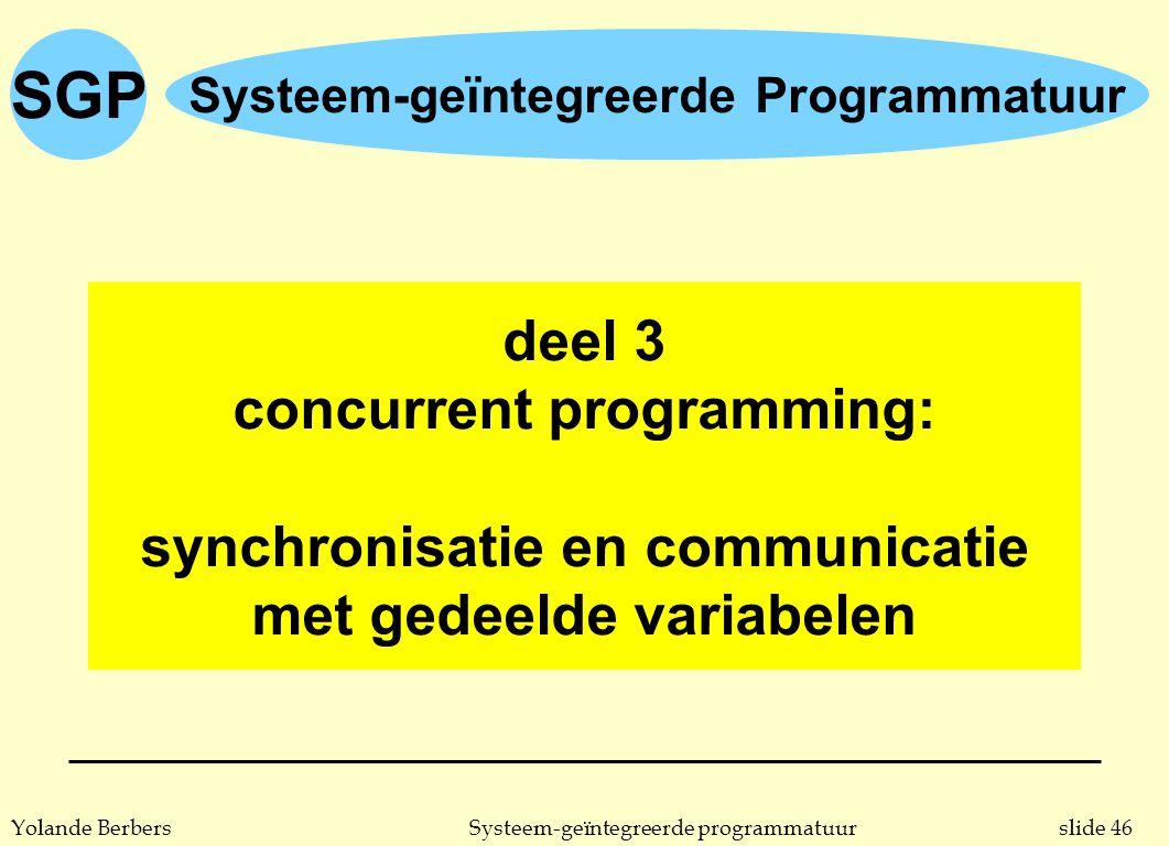 slide 46Systeem-geïntegreerde programmatuurYolande Berbers SGP Systeem-geïntegreerde Programmatuur deel 3 concurrent programming: synchronisatie en communicatie met gedeelde variabelen