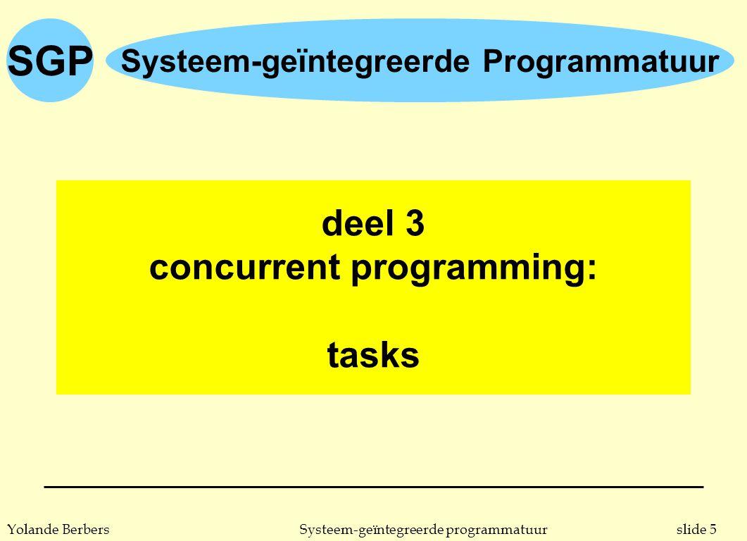 SGP slide 76Systeem-geïntegreerde programmatuurYolande Berbers protected object: voorbeeld 5 n pakket dat semaforen aanbiedt, geïmplementeerd met behulp van een protected object package Semaphore_Package is type Semaphore (Initial : Natural := 1) is limited private; procedure Wait (S: in out Semaphore); procedure Signal (S: in out Semaphore); private protected type Semaphore (Initial : Natural := 1) is entry Wait_Imp; procedure Signal_Imp; private Value: Natural := Initial; end Semaphore ; end Semaphore_Package ;