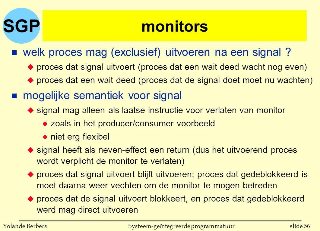 SGP slide 56Systeem-geïntegreerde programmatuurYolande Berbers monitors n welk proces mag (exclusief) uitvoeren na een signal .