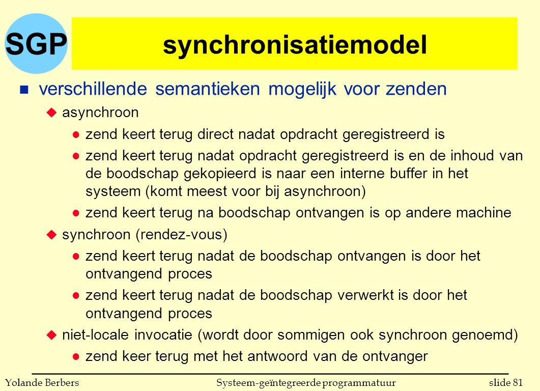 SGP slide 81Systeem-geïntegreerde programmatuurYolande Berbers synchronisatiemodel n verschillende semantieken mogelijk voor zenden u asynchroon l zend keert terug direct nadat opdracht geregistreerd is l zend keert terug nadat opdracht geregistreerd is en de inhoud van de boodschap gekopieerd is naar een interne buffer in het systeem (komt meest voor bij asynchroon) l zend keert terug na boodschap ontvangen is op andere machine u synchroon (rendez-vous) l zend keert terug nadat de boodschap ontvangen is door het ontvangend proces l zend keert terug nadat de boodschap verwerkt is door het ontvangend proces u niet-locale invocatie (wordt door sommigen ook synchroon genoemd) l zend keer terug met het antwoord van de ontvanger