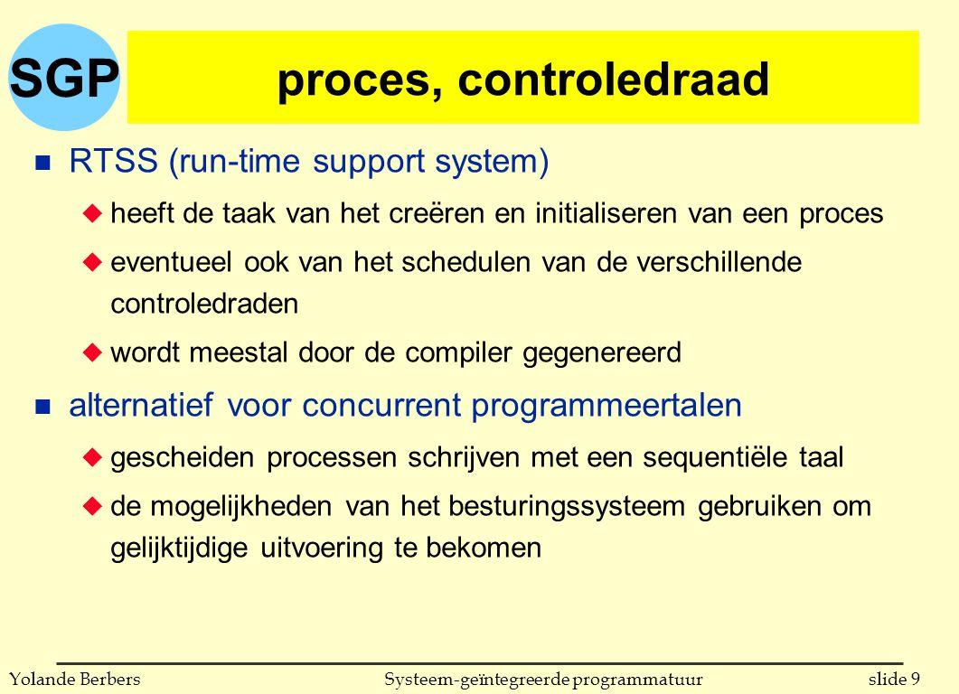 SGP slide 9Systeem-geïntegreerde programmatuurYolande Berbers proces, controledraad n RTSS (run-time support system) u heeft de taak van het creëren en initialiseren van een proces u eventueel ook van het schedulen van de verschillende controledraden u wordt meestal door de compiler gegenereerd n alternatief voor concurrent programmeertalen u gescheiden processen schrijven met een sequentiële taal u de mogelijkheden van het besturingssysteem gebruiken om gelijktijdige uitvoering te bekomen