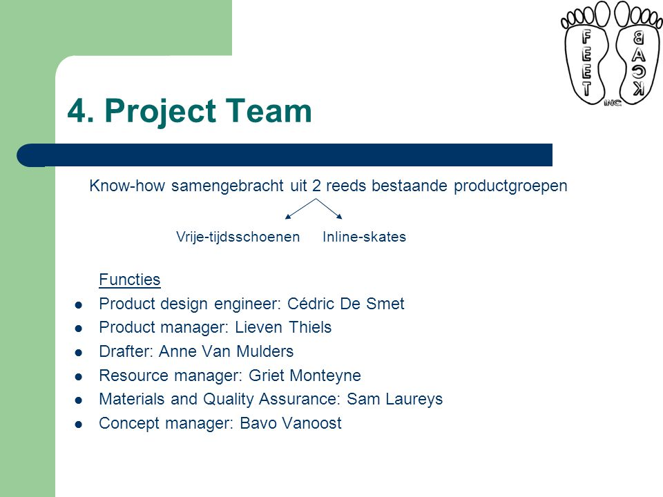 4. Project Team Functies Product design engineer: Cédric De Smet Product manager: Lieven Thiels Drafter: Anne Van Mulders Resource manager: Griet Mont