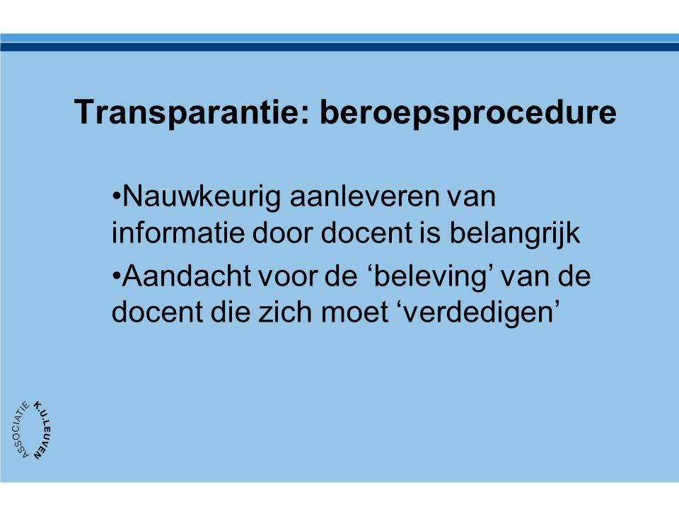 Transparantie: beroepsprocedure Nauwkeurig aanleveren van informatie door docent is belangrijk Aandacht voor de 'beleving' van de docent die zich moet