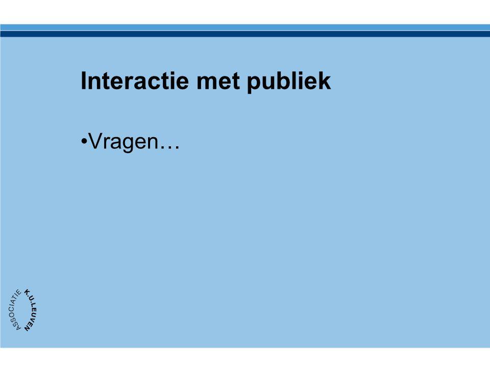 Interactie met publiek Vragen…