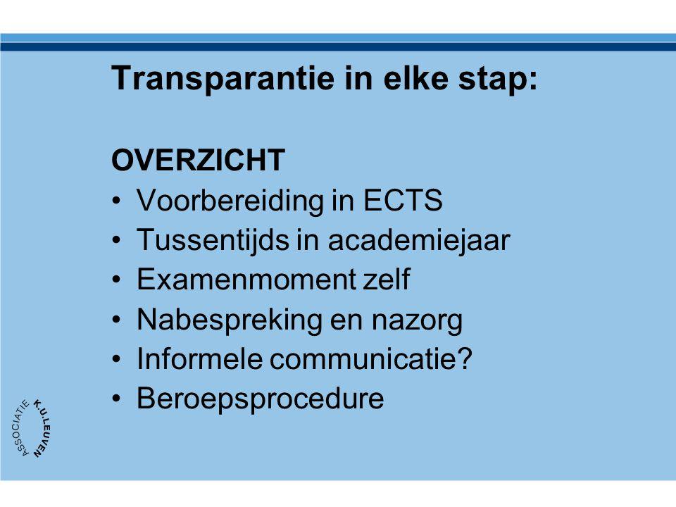 Transparantie in elke stap: OVERZICHT Voorbereiding in ECTS Tussentijds in academiejaar Examenmoment zelf Nabespreking en nazorg Informele communicati