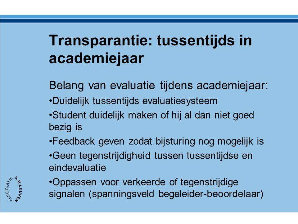 Transparantie: tussentijds in academiejaar Belang van evaluatie tijdens academiejaar: Duidelijk tussentijds evaluatiesysteem Student duidelijk maken o