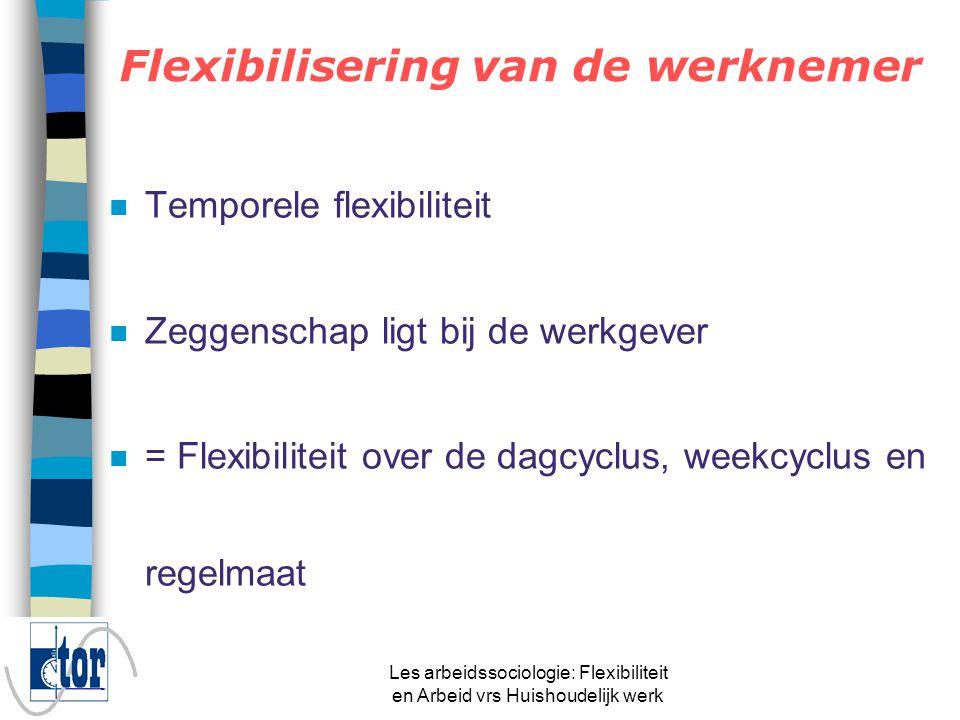 Les arbeidssociologie: Flexibiliteit en Arbeid vrs Huishoudelijk werk Flexibilisering van en vóór de werknemer n Flexibiliteit van de arbeid n Externe en interne flexibiliteit –EF: personeel dat zelf niet tot de onderneming behoren –IF: diverse inzet van eigen personeel »Flexibiliteit van de werknemer »Flexibiliteit vóór de werknemer n (numerieke en functionele flexibiliteit)