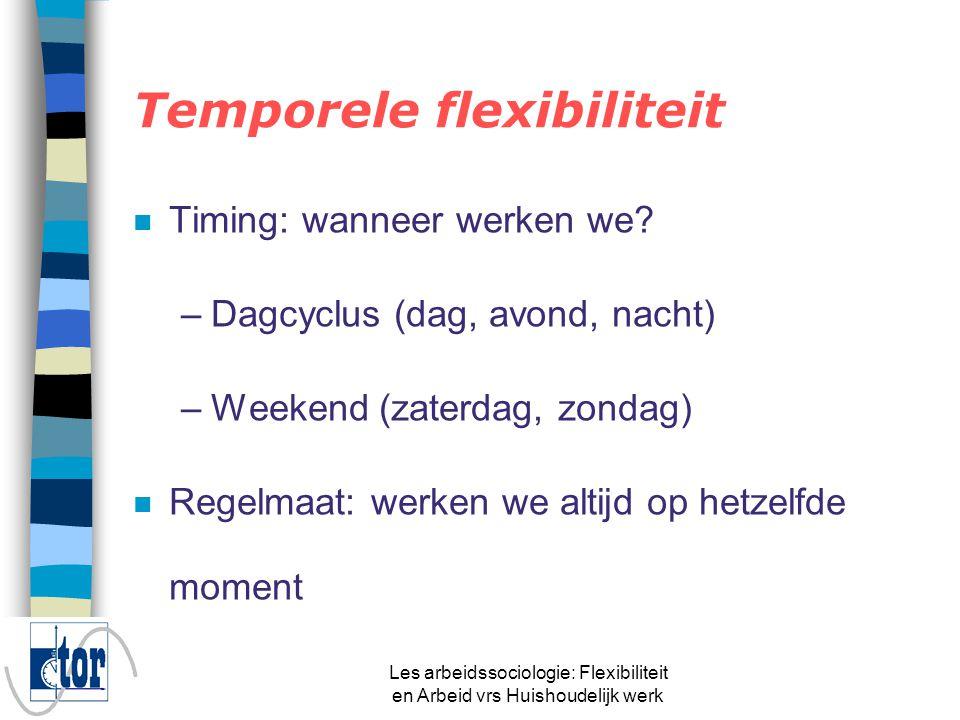 Les arbeidssociologie: Flexibiliteit en Arbeid vrs Huishoudelijk werk n Temporele flexibiliteit n Zeggenschap ligt bij de werkgever n = Flexibiliteit over de dagcyclus, weekcyclus en regelmaat Flexibilisering van de werknemer