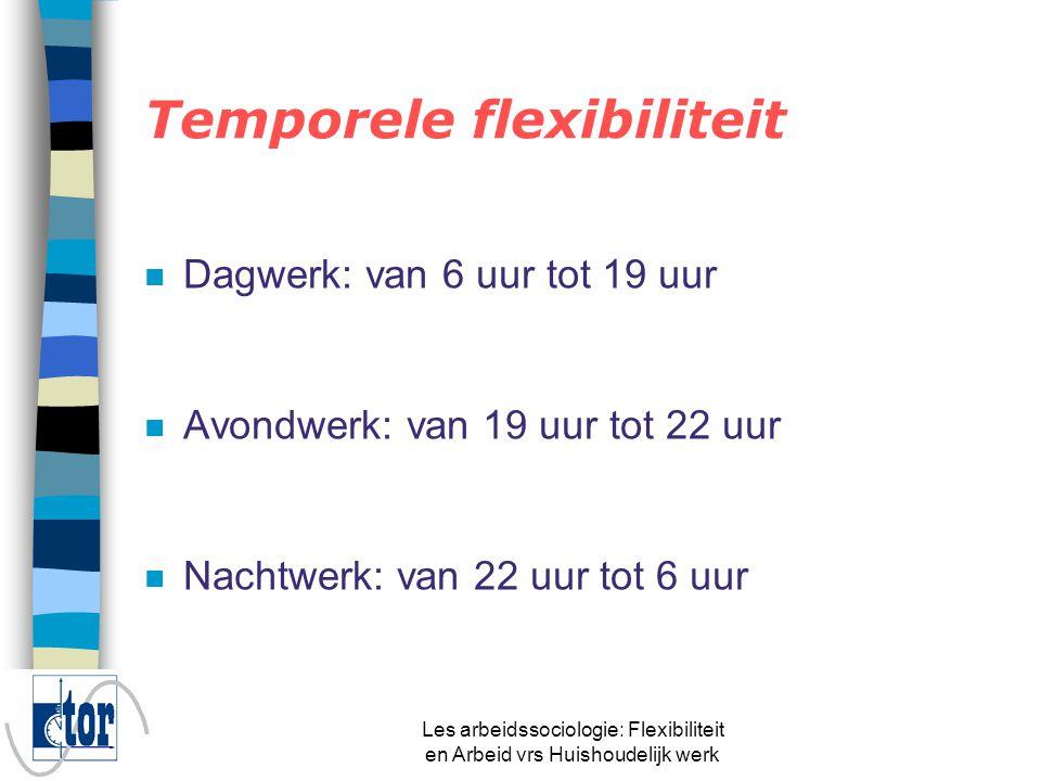 Les arbeidssociologie: Flexibiliteit en Arbeid vrs Huishoudelijk werk n Timing: wanneer werken we.