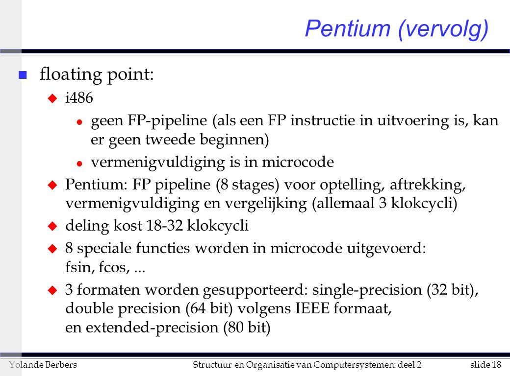 slide 18Structuur en Organisatie van Computersystemen: deel 2Yolande Berbers Pentium (vervolg) n floating point: u i486 l geen FP-pipeline (als een FP instructie in uitvoering is, kan er geen tweede beginnen) l vermenigvuldiging is in microcode u Pentium: FP pipeline (8 stages) voor optelling, aftrekking, vermenigvuldiging en vergelijking (allemaal 3 klokcycli) u deling kost 18-32 klokcycli u 8 speciale functies worden in microcode uitgevoerd: fsin, fcos,...