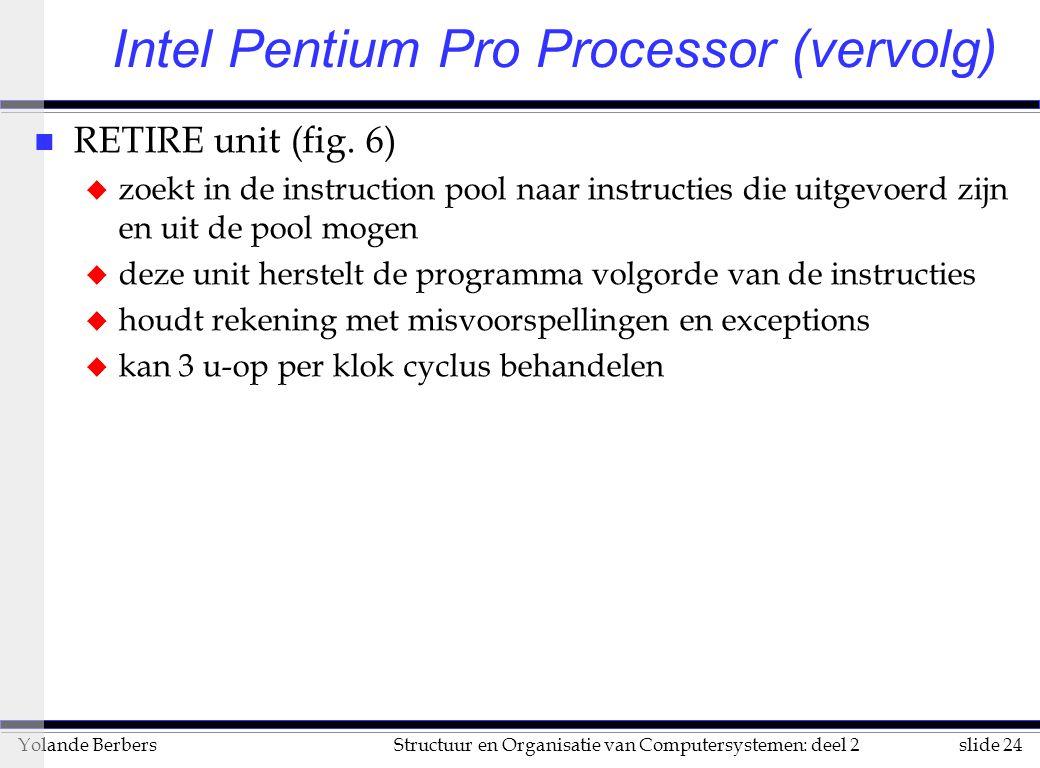 slide 24Structuur en Organisatie van Computersystemen: deel 2Yolande Berbers n RETIRE unit (fig.