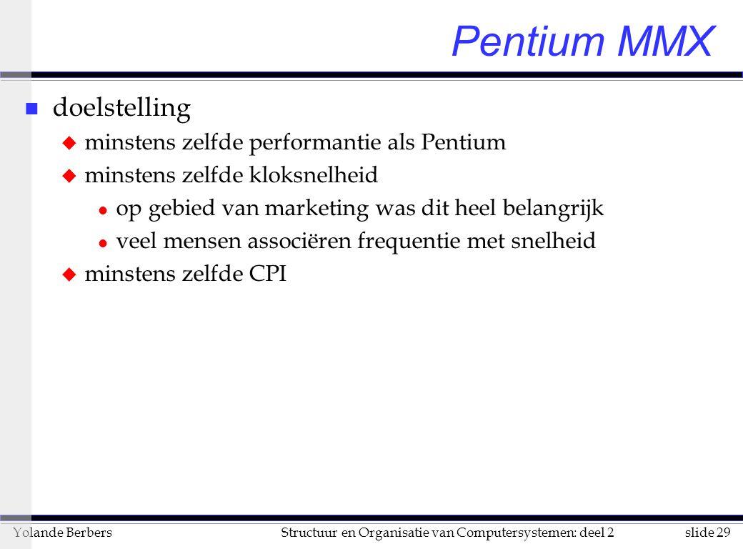 slide 29Structuur en Organisatie van Computersystemen: deel 2Yolande Berbers Pentium MMX n doelstelling u minstens zelfde performantie als Pentium u minstens zelfde kloksnelheid l op gebied van marketing was dit heel belangrijk l veel mensen associëren frequentie met snelheid u minstens zelfde CPI