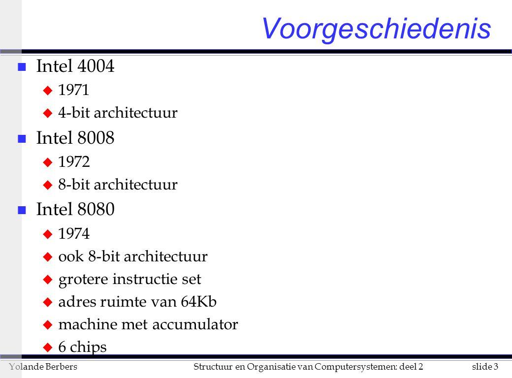 slide 3Structuur en Organisatie van Computersystemen: deel 2Yolande Berbers Voorgeschiedenis n Intel 4004 u 1971 u 4-bit architectuur n Intel 8008 u 1972 u 8-bit architectuur n Intel 8080 u 1974 u ook 8-bit architectuur u grotere instructie set u adres ruimte van 64Kb u machine met accumulator u 6 chips