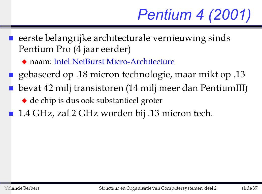slide 37Structuur en Organisatie van Computersystemen: deel 2Yolande Berbers Pentium 4 (2001) n eerste belangrijke architecturale vernieuwing sinds Pentium Pro (4 jaar eerder) u naam: Intel NetBurst Micro-Architecture n gebaseerd op.18 micron technologie, maar mikt op.13 n bevat 42 milj transistoren (14 milj meer dan PentiumIII) u de chip is dus ook substantieel groter n 1.4 GHz, zal 2 GHz worden bij.13 micron tech.